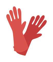 Rubber red gloves cartoon flat icon vector illustration.