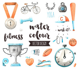 Sports Awards Watercolor Vector Objects