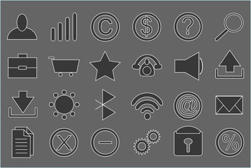 table with set of icons black and white