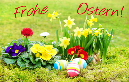 ostern easter frohe ostern schrift osterkarte ostereier fr hlingsblumen wiese. Black Bedroom Furniture Sets. Home Design Ideas