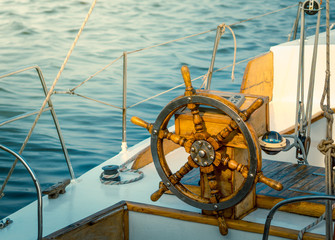 Steering wheel on the yacht.