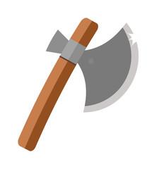Axe steel isolated and sharp axe cartoon weapon icon