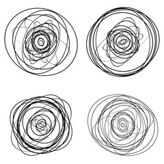 Set of dandom intersecting, tangled circles - Squiggle elements