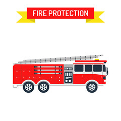 Detailed illustration of fire truck emergency car cartoon vector in a flat style.