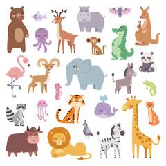 Cartoon zoo animals big set wildlife mammal flat vector illustration.