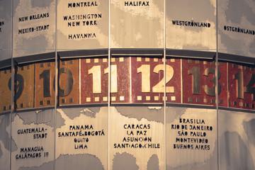 world clock closeup, berlin alexanderplatz, vintage style