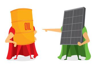 Oil barrel and solar energy panel battle