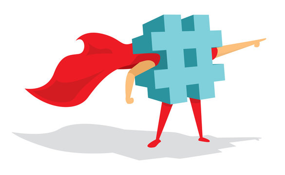 Hashtag super hero or trending topic with cape