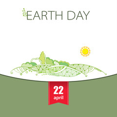 Vector illustration of cute landscape with hills, trees and sun isolated on white background. Design element in contour style. Poster for Earth Day in April 22.