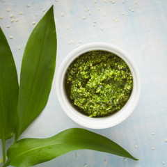 Wild garlic and Sesame seeds pesto sauce. Selective focus