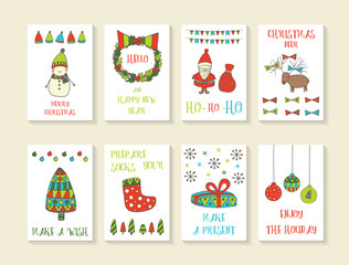 Cute hand drawn doodle Christmas cards