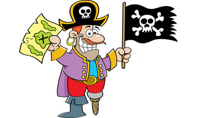 Cartoon illustration of a pirate holding a flag and map.