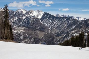 Snowcapped peaks at Purgatory ski resort in Durango