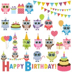 Birthday party set with owls