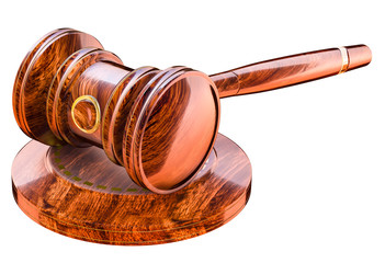 Gavel in court of law, wooden hammer
