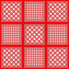 Red and white keffiyeh for men the middle East. Vector template.