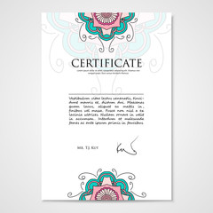 Graphic design template document with floral hand drawn ornament
