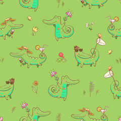 Summer seamless pattern with cute carton crocodiles, ice cream, sunglasses, net  and cocktails. Animals and flowers on  green  background. Vector image.