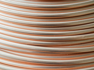 Detail of a copper tube coil.