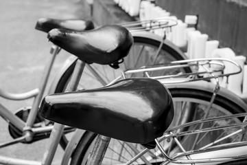 bicycle black leather saddle