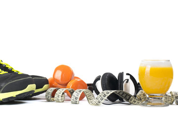 Diet concept with sport equipment
