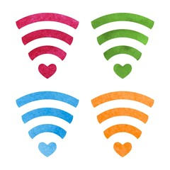 Set of wireless network symbol made with watercolor for your design. Original abstract wi-fi icon. Internet theme. Vector.