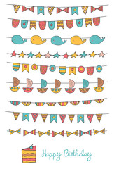 Cute hand drawn doodle birthday, party flags
