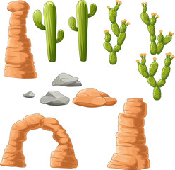 Cartoon beautiful cactus on desert background