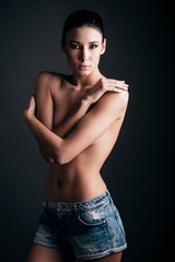 Shirtless beauty.