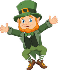 Cartoon happy leprechaun dancing
