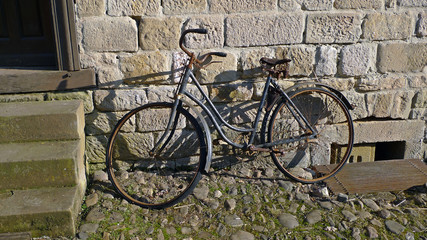 Old rusty bicycle out of order