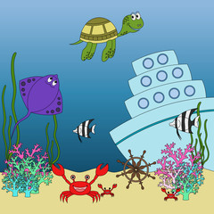 Underwater animals and fish  illustration