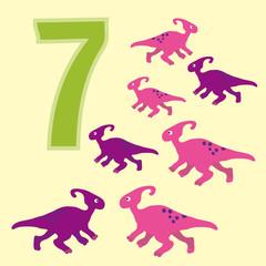 Number 7. Seven dinosaur (Parasaurolophus).