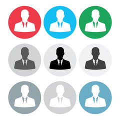 Set of businessman avatars in circles.