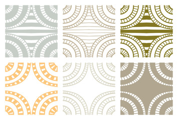 Set of abstract seamless handdrawn zenart swatches