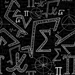 Scientific endless vector texture with various mathematical signs, figures, formulas and calculations. Vector mathematical seamless pattern