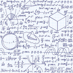 Math education vector seamless pattern with handwritten formulas, tasks, plots, calculations and geometrical figures. Endless texture