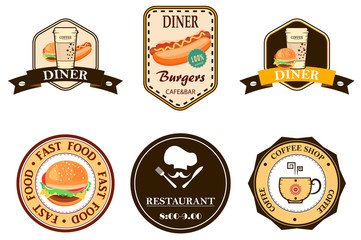 set of vintage fast food restaurant signs, panel, badge and label. vector