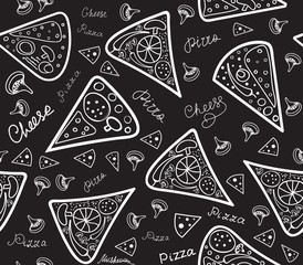 Food vector seamless pattern with pizza slices, cheese, mushrooms and words handwritten with chalk on grey board