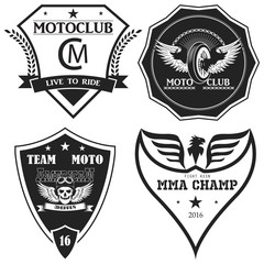 Sports insignia emblem set. emblem motorcycle clubs. vector.old school. monochrome style.