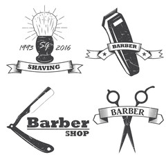 Set of vintage barber shop logo, labels, badges and design element. ribbons. vector. monochrome style.