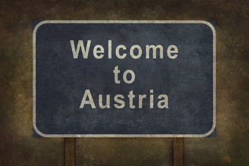 Welcome to Austria roadside sign illustration