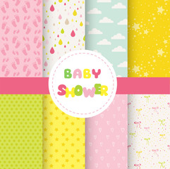 Cute Baby Background. Seamless Pattern. Vector Background
