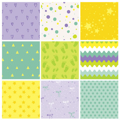 9 Seamless Baby Patterns. Baby Texture. Wallpaper. Vector Background