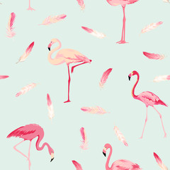 Door stickers Flamingo Flamingo Bird Background. Flamingo Feather Background. Retro Seamless Pattern