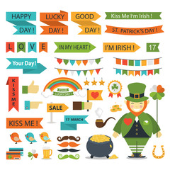 St.Patrick Day  Icons flat style.St.Patrick Day  Icons isolated vector.St. Patrick's Day vector design elements set.St. Patrick's Day icons for holiday design.St. Patrick's Day flat modern style.