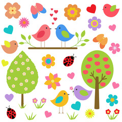 Vector set of spring theme. Spring nature, trees, flowers, birds lovers