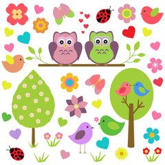 Vector set of spring theme. Spring trees, flowers, butterflies, ladybugs, love owls and other birds