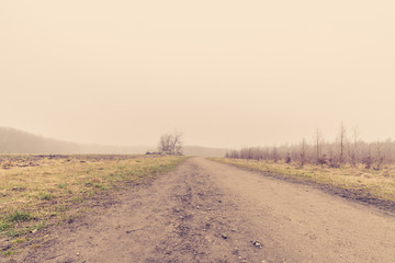 Countryside road in misty weather