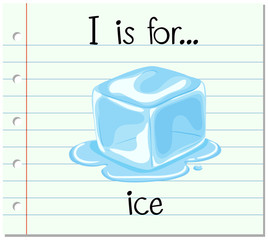 Flashcard letter I is for ice